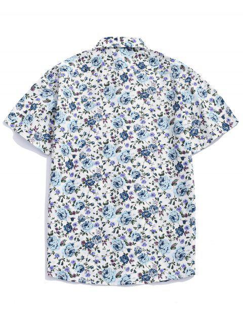 Camisa con botones estampados en toda la prenda de flores. - Multicolor-B XL Mobile
