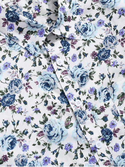 Chemise Boutonnée Fleur Imprimée en Alliage - Multi-B 2XL Mobile