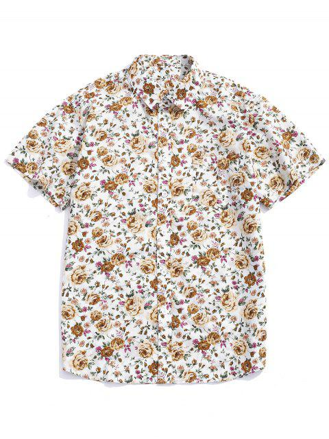trendy Flowers Allover Printed Button Up Shirt - MULTI-A XL Mobile
