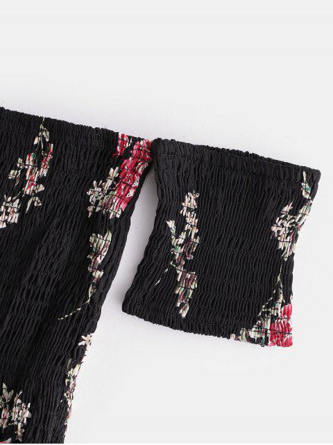 online Floral Smocked Off Shoulder Mini Dress - BLACK S Mobile