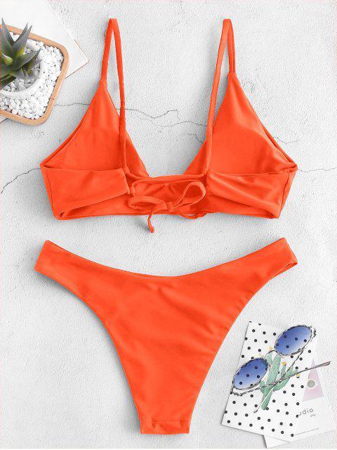 women's ZAFUL Tie Bralette Bikini Set - PUMPKIN ORANGE S Mobile