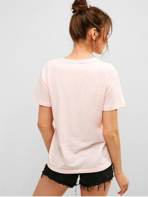 shop ZAFUL Letter Palm Tree Graphic Short Sleeve Tee - PINK M Mobile