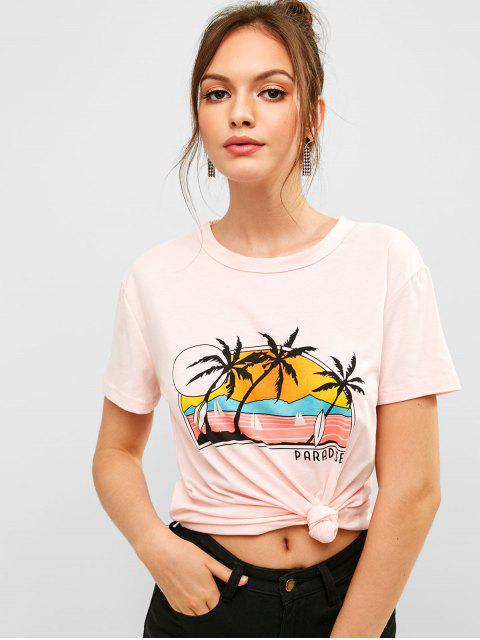 womens ZAFUL Letter Palm Tree Graphic Short Sleeve Tee - PINK L Mobile