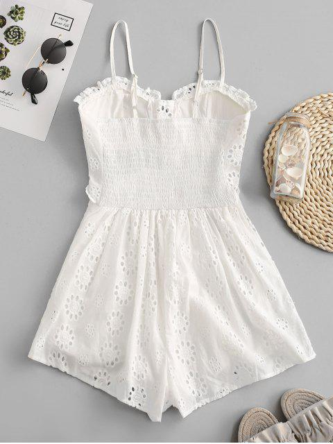 fashion Lace-up Broderie Anglaise Cami Romper - WHITE M Mobile