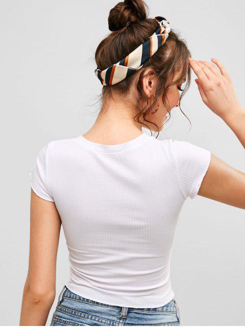 Camiseta Acanalada Con Medio Botón - Blanco S Mobile