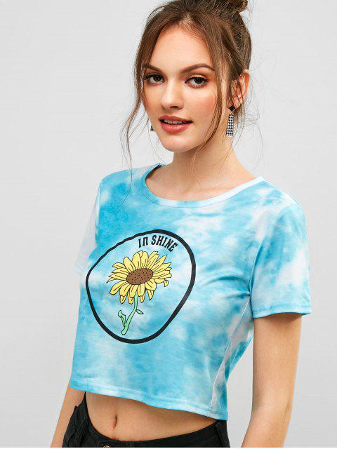 outfits ZAFUL Sunflower Print Tie Dye Crop Tee - MULTI S Mobile