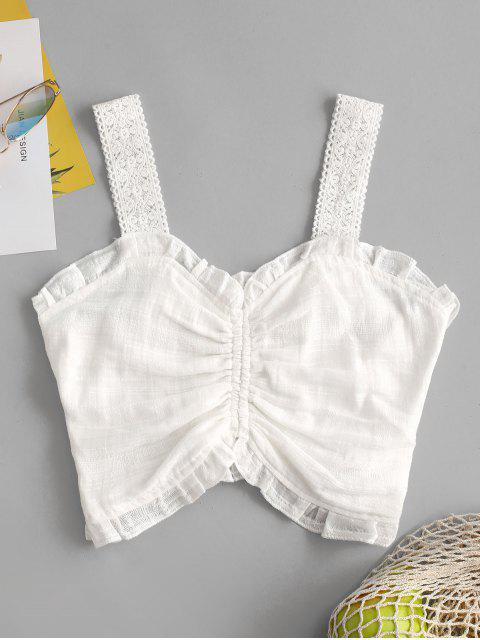 lady Frilled Ruched Smocked Crop Top - WHITE M Mobile