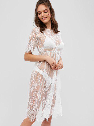 2f10e3ec51e Sheer Floral Lace Dress - White S ...