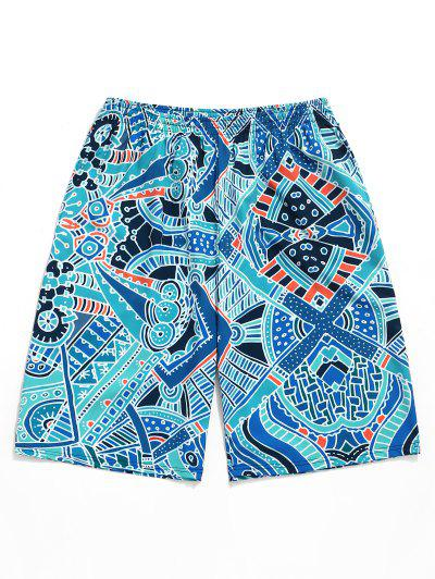 02788cd026 Allover Geometric Graphic Print Board Shorts - Dark Turquoise M ...