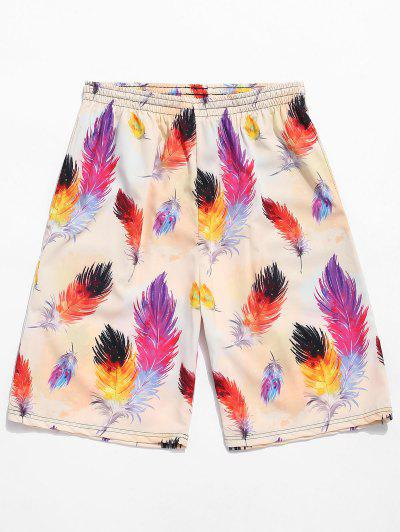 a5b6341f81 Colorful Feather Painting Print Board Shorts - Tan Brown 4xl ...