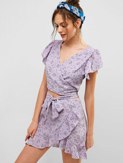ZAFUL Floral Knotted Wrap Top And Ruffles Skirt Set, Wisteria purple