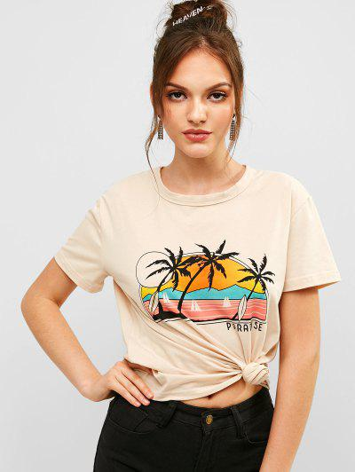 ZAFUL Letter Palm Tree Graphic Short Sleeve Tee