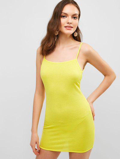 c612d9e3 Solid Color Backless Cami Dress - Yellow L ...