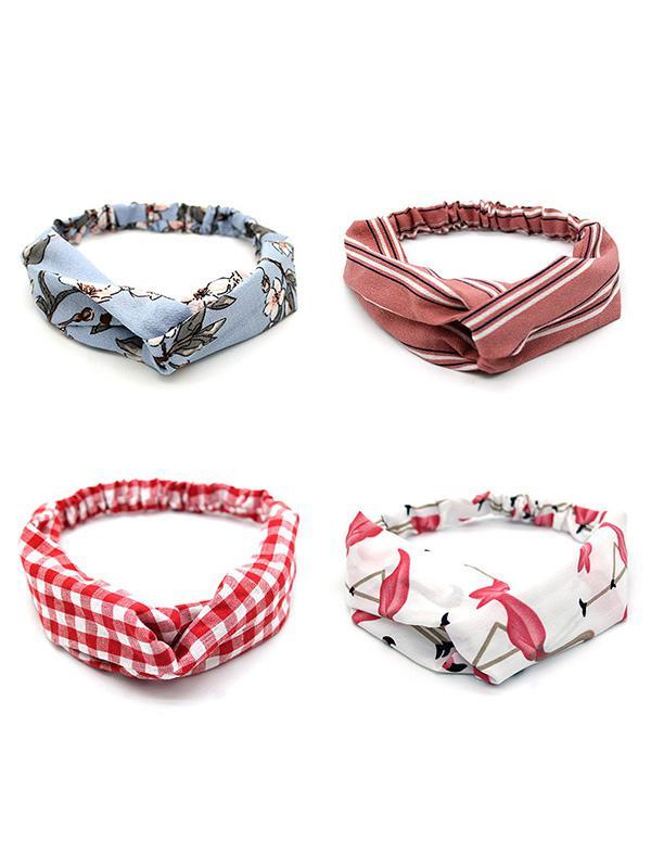 4 Piece Printed Stretchy Headband Set