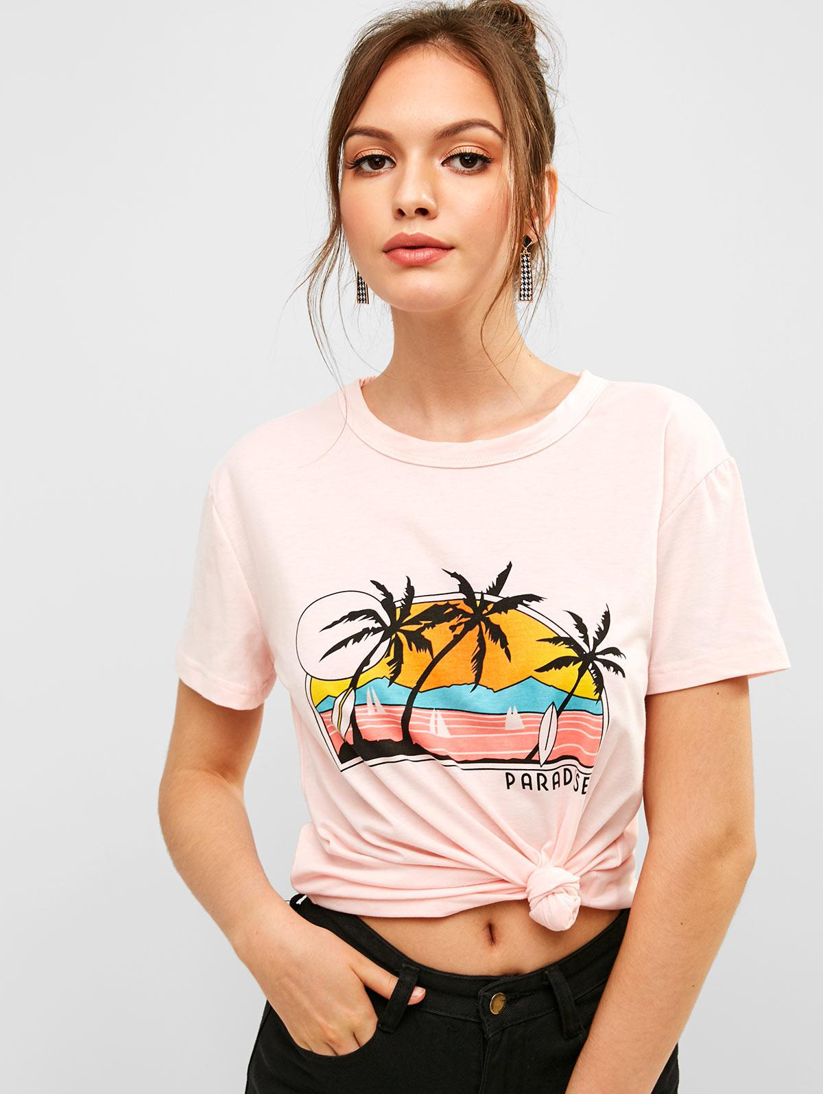ZAFUL Letter Palm Tree Graphic Short Sleeve Tee, Pink