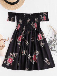 Smocked الأزهار قبالة الكتف البسيطة اللباس - أسود M
