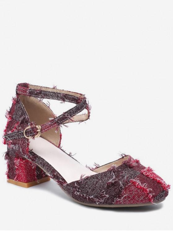 lady Frayed Hem Cross Chunky Heel Sandals - RED WINE EU 35