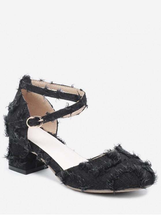 unique Frayed Hem Cross Chunky Heel Sandals - BLACK EU 33