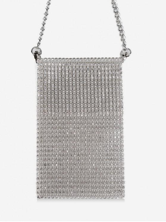 latest Glitter Rhinestone Mini Crossbody Bag - WHITE