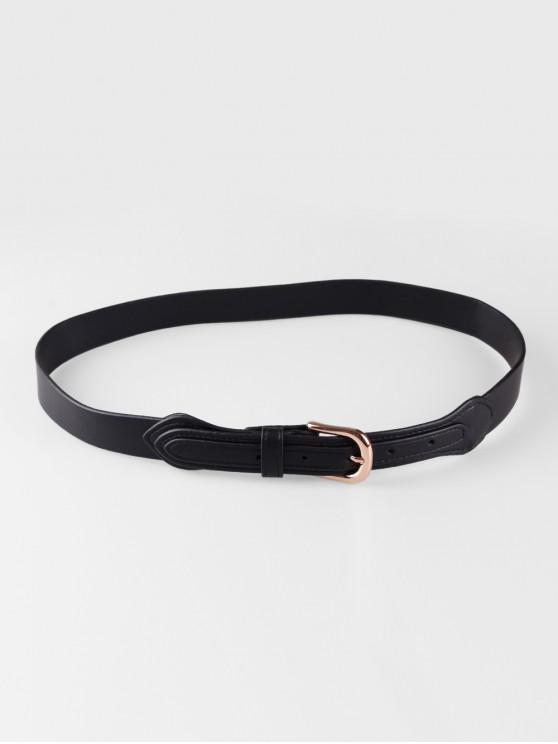 trendy Simple Decoration Buckle Thin Belt - BLACK