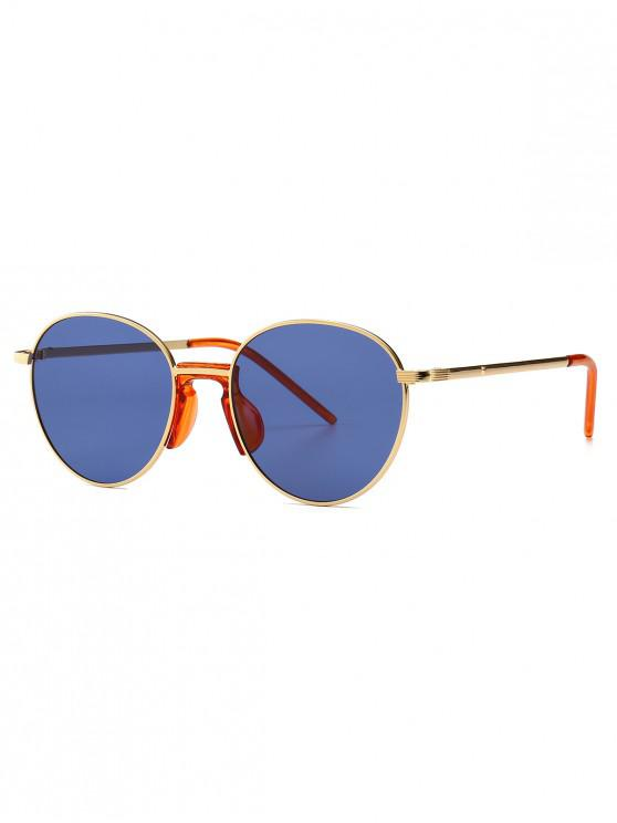unique Vintage Metal Round Sunglasses - SKY BLUE