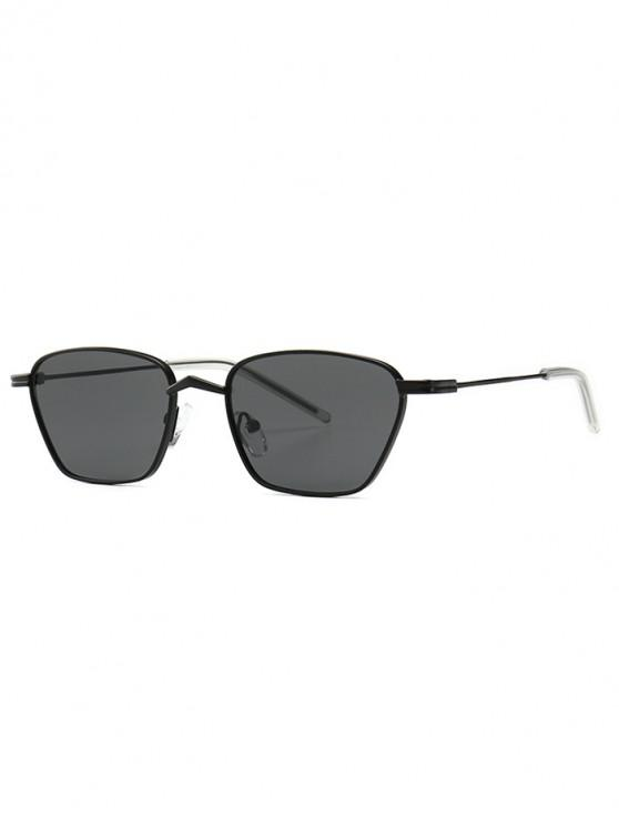 lady Narrow Retro Driving Metal Sunglasses - JET BLACK
