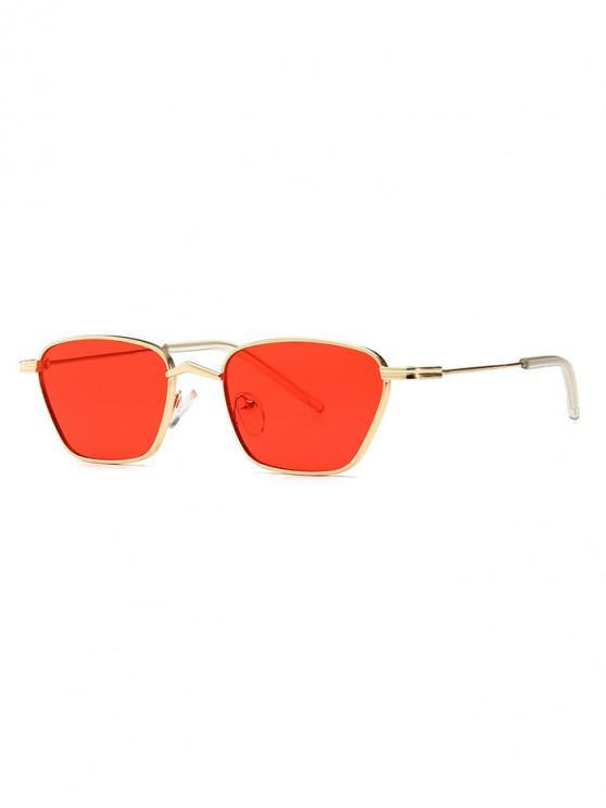 fashion Narrow Retro Driving Metal Sunglasses - RED
