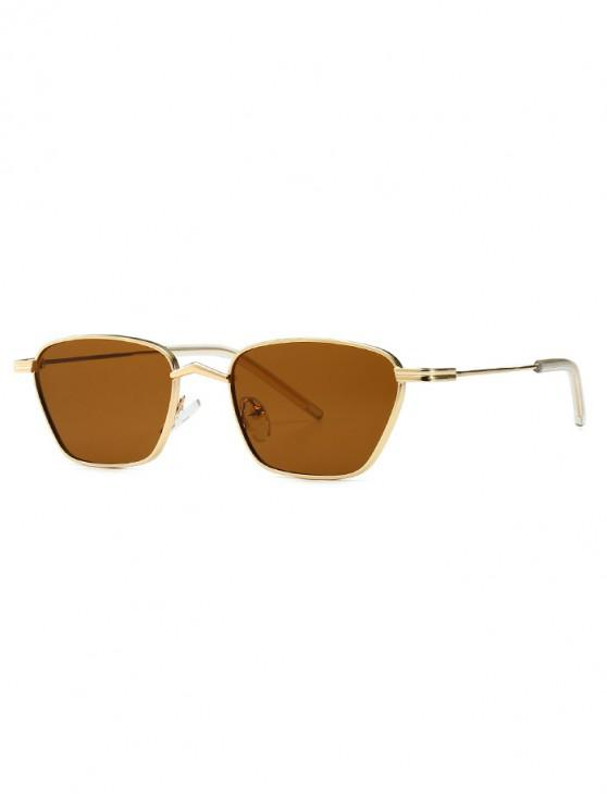 fancy Narrow Retro Driving Metal Sunglasses - BROWN