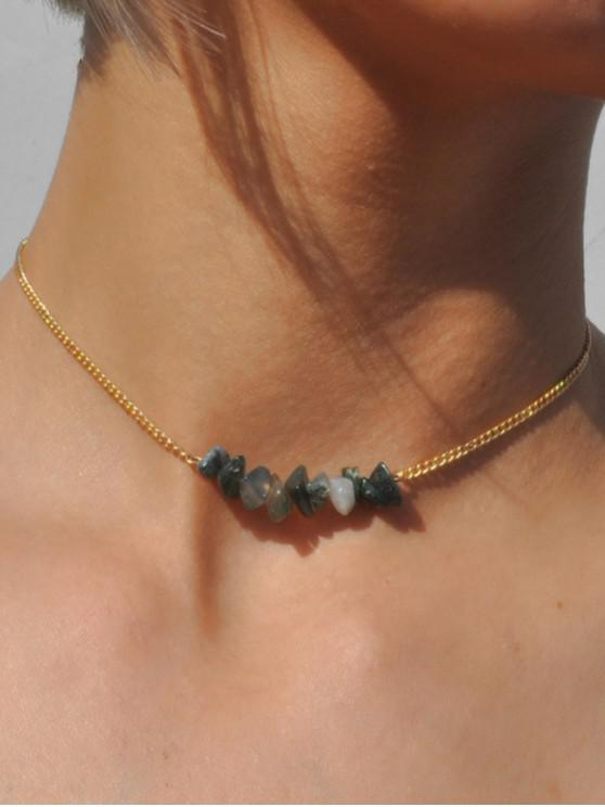 womens Natural Stone Beaded Choker Necklace - BLACK
