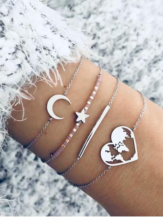 women's 4Pcs Moon Star Heart Bracelet Set - SILVER