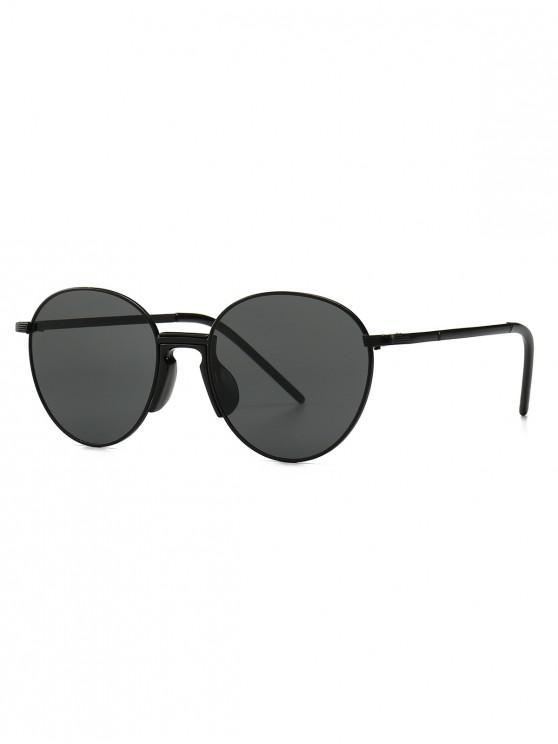 hot Vintage Metal Round Sunglasses - JET BLACK