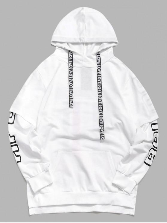 unique Layer Sleeves Striped Print Asymmetric Casual Hoodie - WHITE M