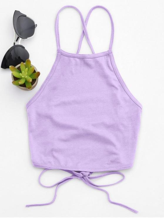 new Open Back Cropped Tank Top - MAUVE M