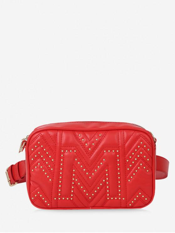 fashion Quilted Square Waist Pack - RED