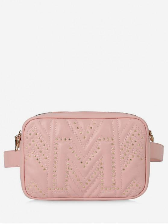 fancy Quilted Square Waist Pack - PINK
