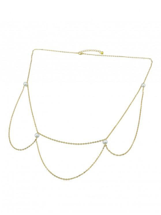 best Sexy Faux Pearl Layers Belly Chain - GOLD