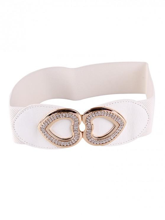 online Hook Heart Rhinestone Wide Elastic Belt - WHITE