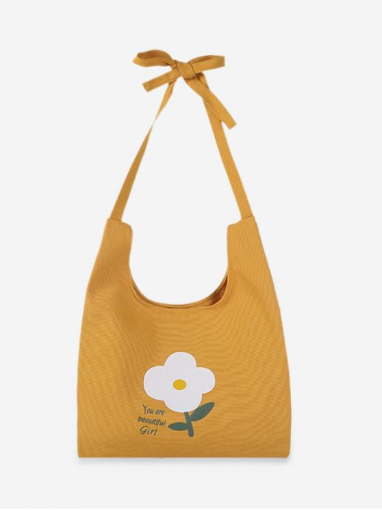 new Fresh Style Floral Shoulder Bag - YELLOW