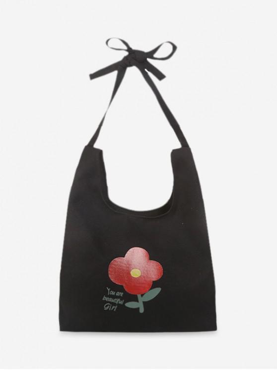 outfits Fresh Style Floral Shoulder Bag - BLACK