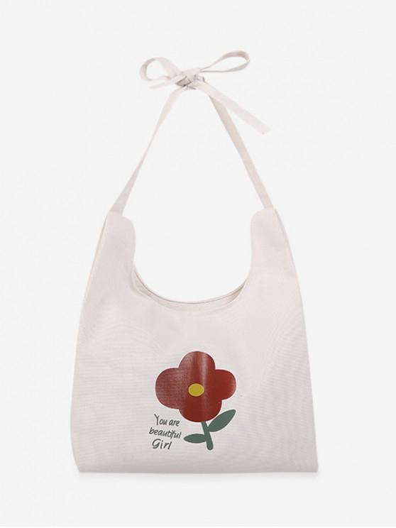 shops Fresh Style Floral Shoulder Bag - WHITE