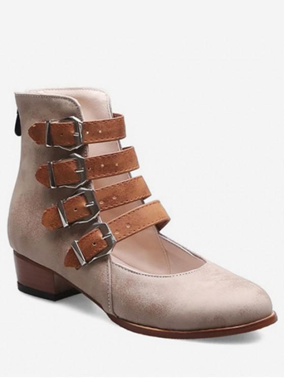 women Buckle Strap High Top Shoes - BEIGE EU 39