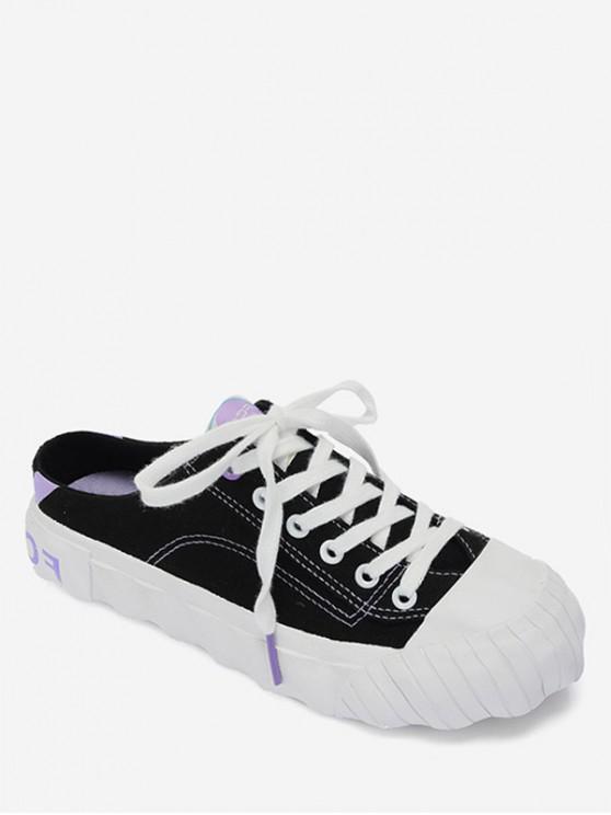 ladies Canvas Slingback Shoes - BLACK EU 38