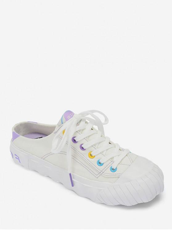 lady Canvas Slingback Shoes - WHITE EU 39