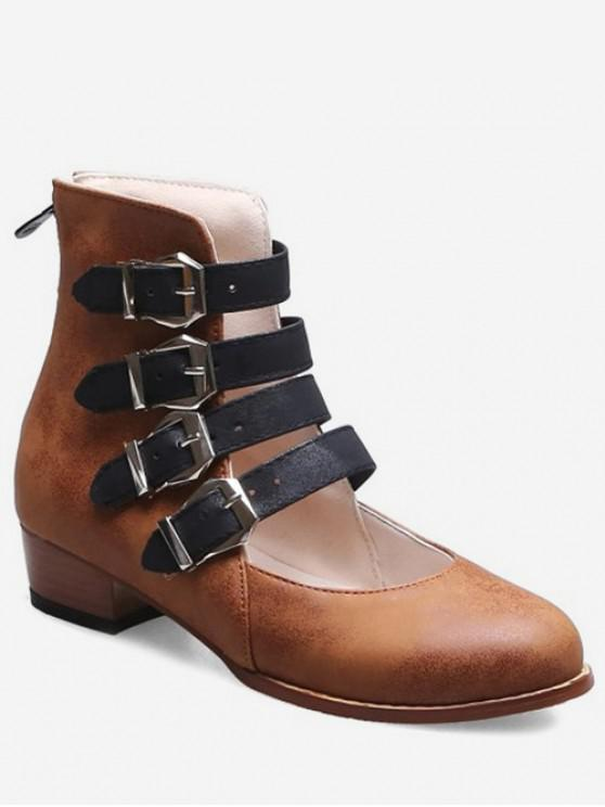 best Buckle Strap High Top Shoes - BROWN EU 35