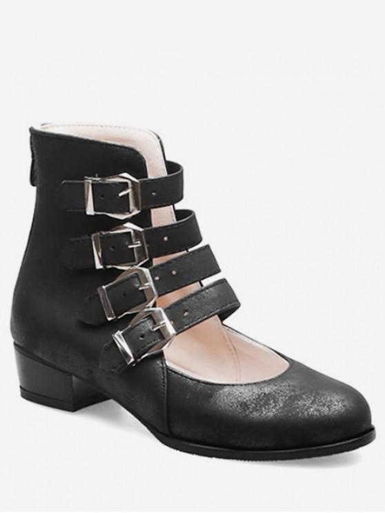 unique Buckle Strap High Top Shoes - BLACK EU 38