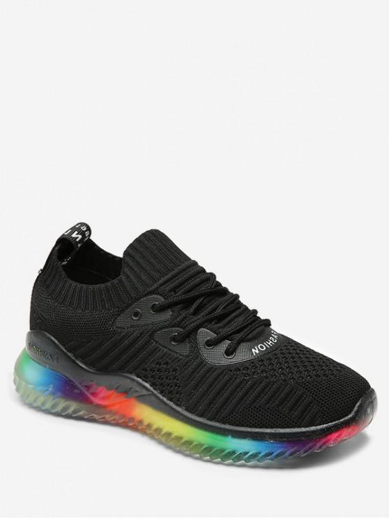 ladies Rainbow Knit Sneakers - BLACK EU 38