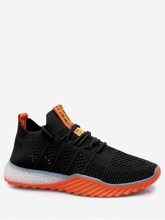 new Contrast Color Breathable Mesh Sneakers - BLACK EU 35