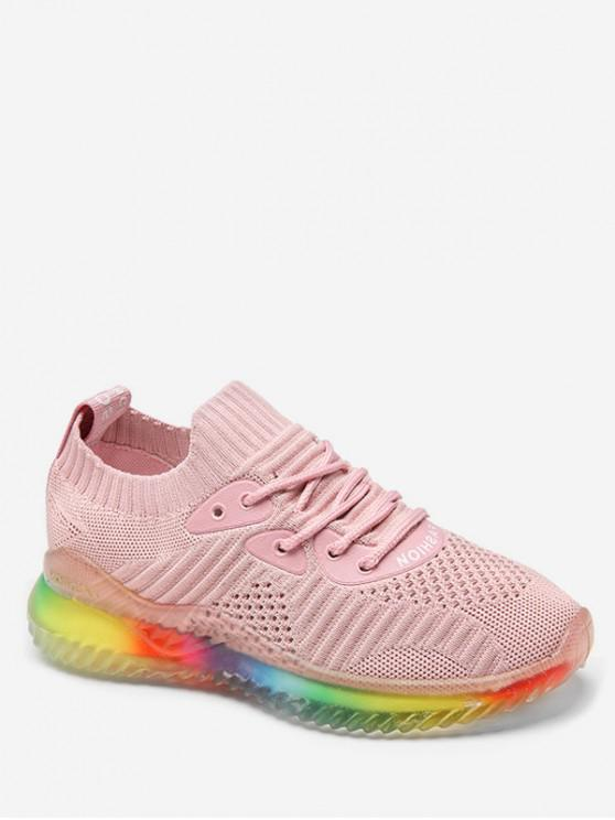 trendy Rainbow Knit Sneakers - PINK EU 38