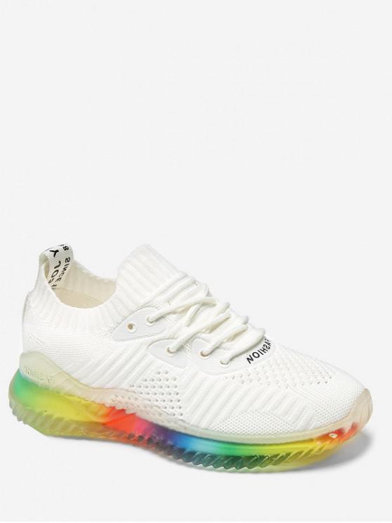 fashion Rainbow Knit Sneakers - WHITE EU 40