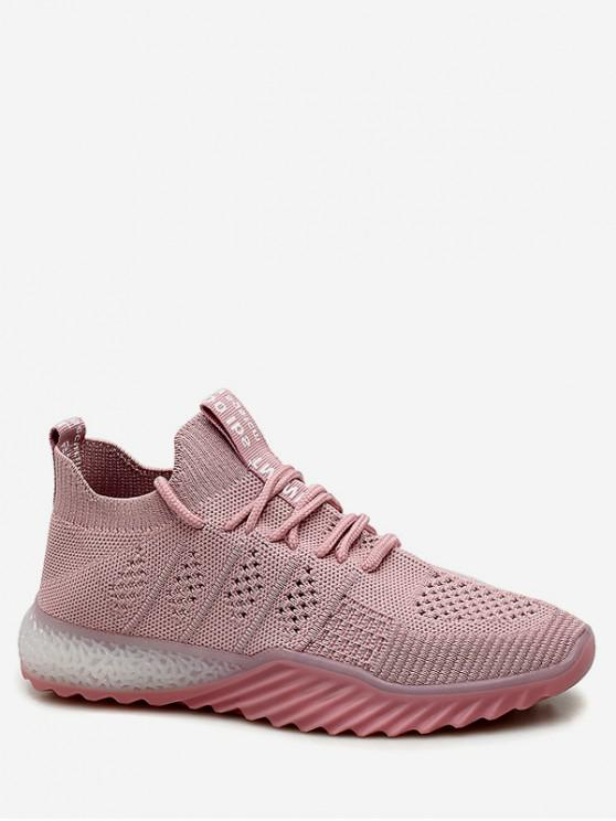 chic Contrast Color Breathable Mesh Sneakers - PINK EU 39
